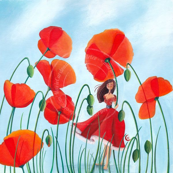 "https://www.facebook.com/MarieCardouatIllustratrice ......... ""Poppies"" - by Marie Cardouat"