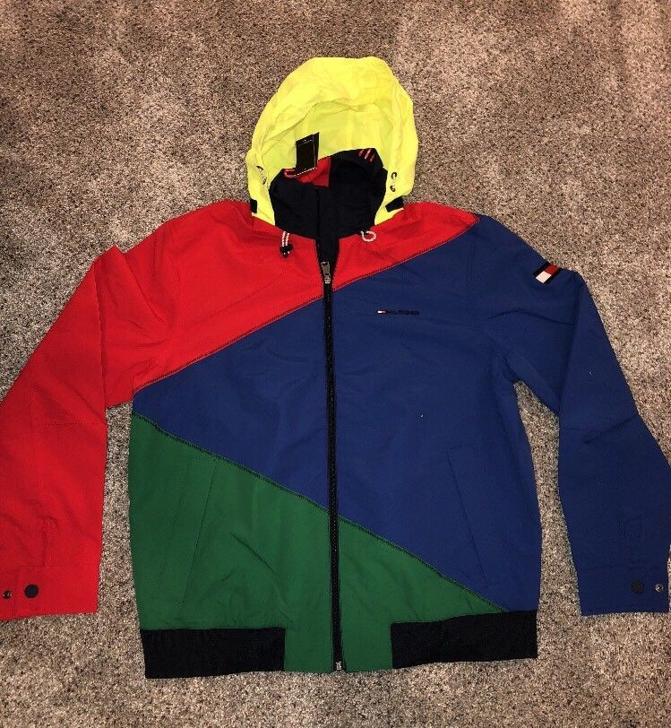 4701cbfb NWT RARE Tommy Hilfiger Color Block Sailing Jacket Size Medium Packable  Hood | eBay