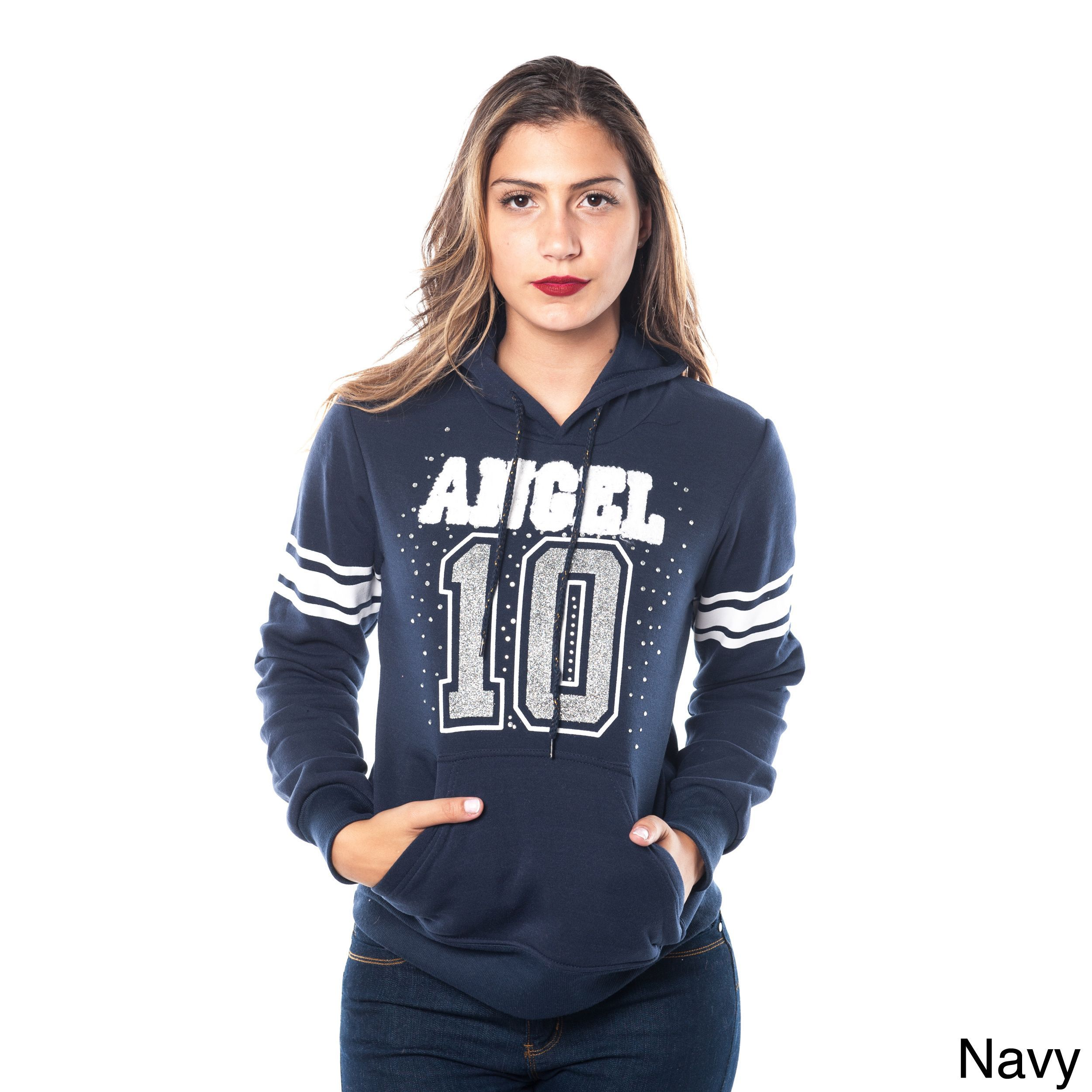 Special One Ladies' Cotton and Fleece Double-hood Sweatshirt Embellished with Appliques