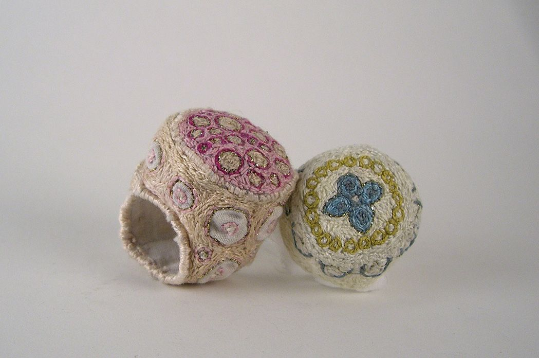 "Anna Lorich's ""Embroidered Pillow Rings"", cloth, thread, cotton. Amazing!"