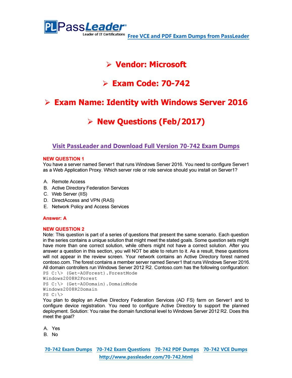 Feb-2017] New PassLeader 70-<b>742</b> Dumps with VCE and PDF ...