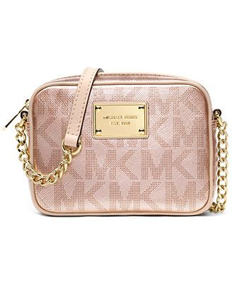 131fe2a7e1f3 closeout michael michael kors handbag signature metallic crossbody in rose  gold. aaahhh 76657 5b726