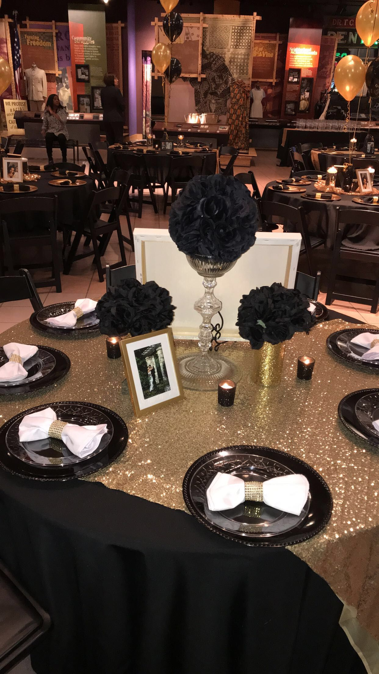 Black And Gold Table Decor Birthday Party Table Decorations