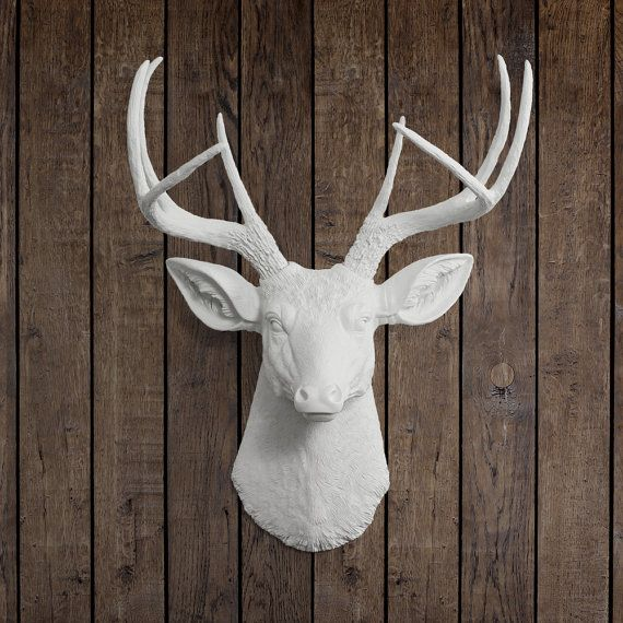White Faux Deer Head By Wall Charmers Faux Taxidermy Wall Mounted Resin Animal Head Stag Buck Wall Decor Faux Taxidermied Deer Head Decor Faux Deer Head Deer Head Decor Animal Heads