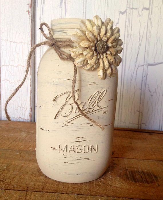 Hand painted medium 800 ml Ball mason jar painted