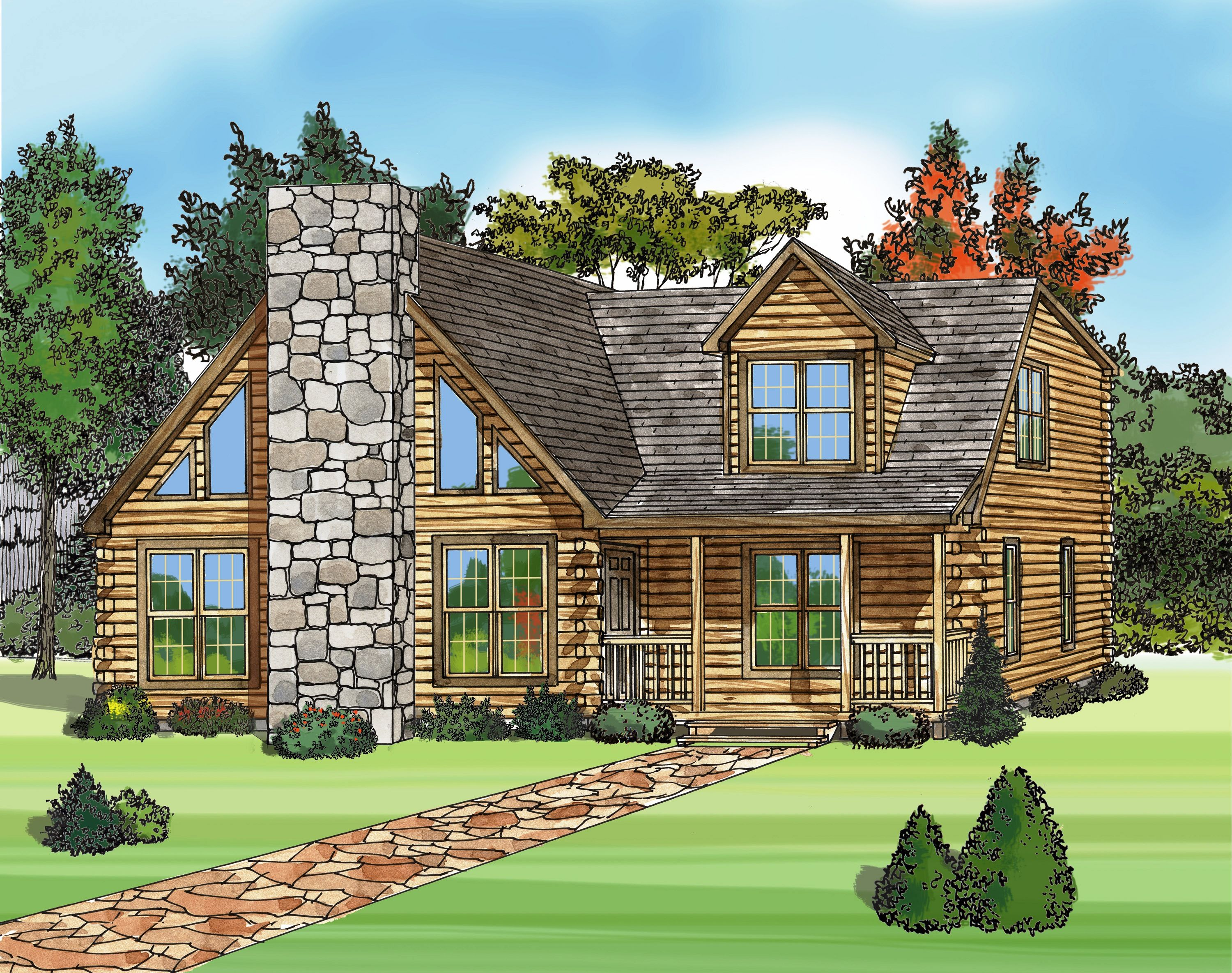 Architecture, : Awesome Modular Log Home Plans Sketch With Stone Material  Of Chimney