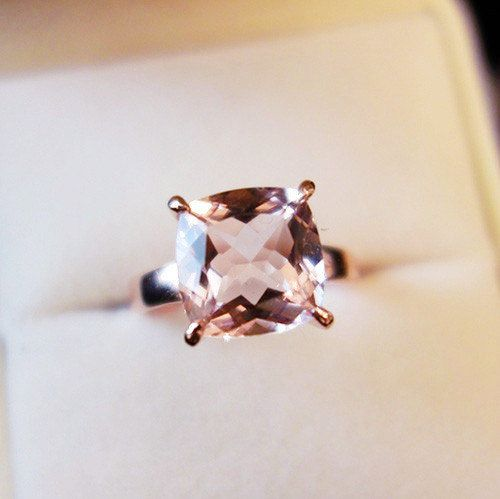 Cushion 8mm Morganite Ring 14K