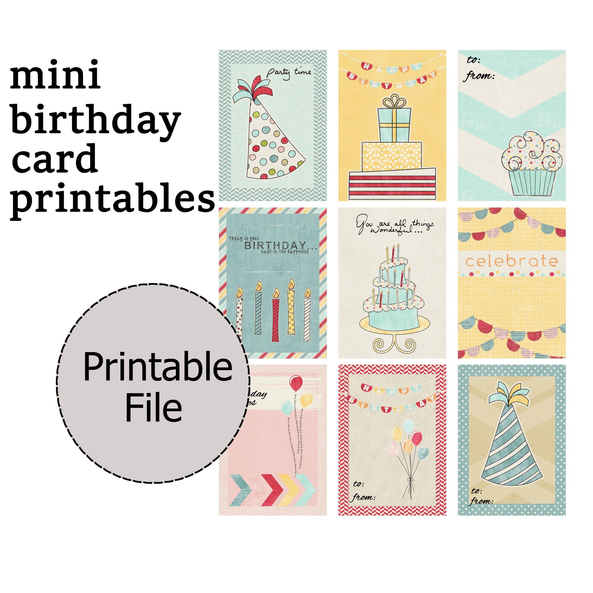 Mini Birthday Card Printable Tag Gift Idea