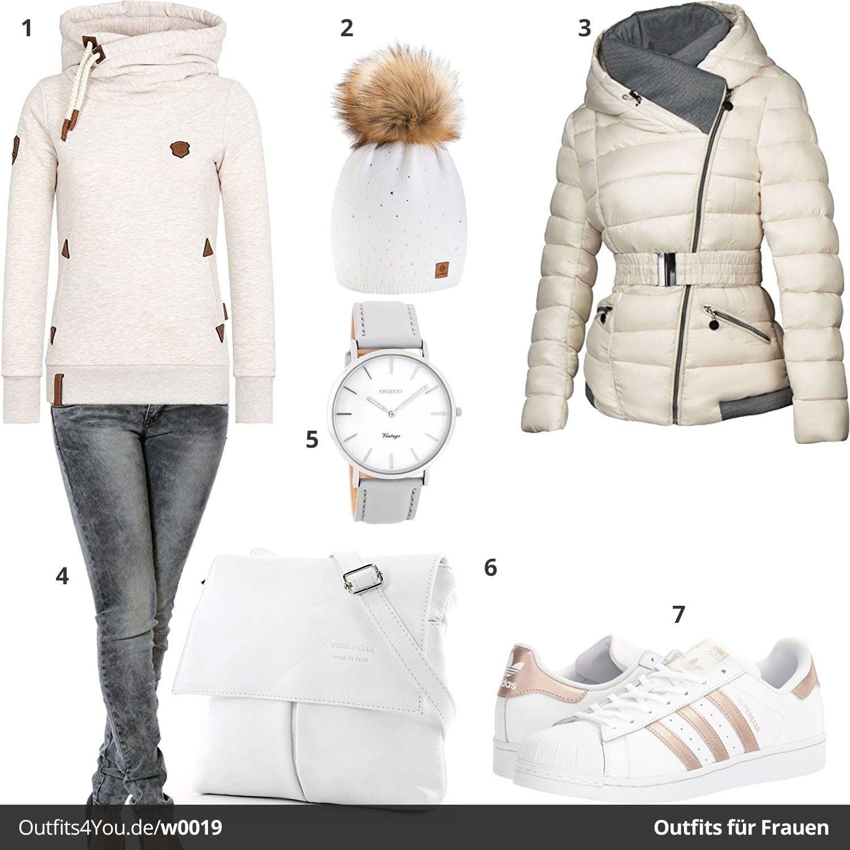 Beige Weißes Damenoutfit mit Steppmantel | Outfit