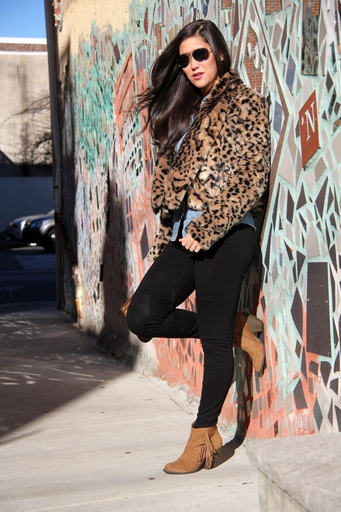 leopard print dressed down with chambray and fringe booties