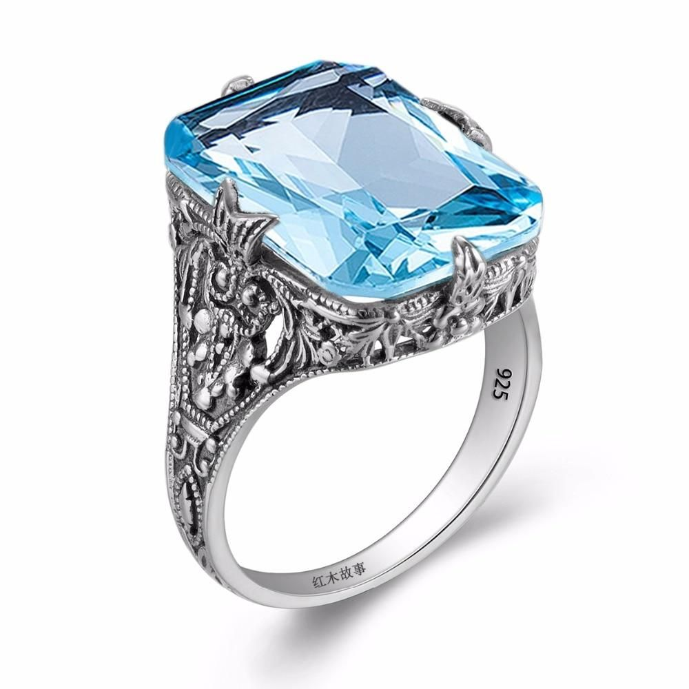 Sterling Silver 925 Ladys Engagement Ring Cocktail Wedding Band Aquamarine