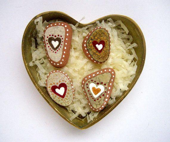 Heart fridge magnet set hand painted beach pottery by Ludibund, $16.00