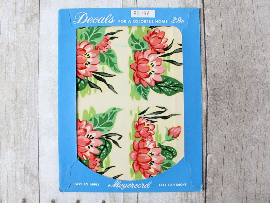 Meyercord Vintage Floral Wall Decals In Package / Bright Pink Floral Water  Lillies /Home Decorating Flower Furniture By Whateverislovely On Etsy