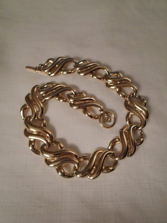 ANNE KLEIN CHOKER / Gold Infinity Necklace / Chunky / by ChezRene