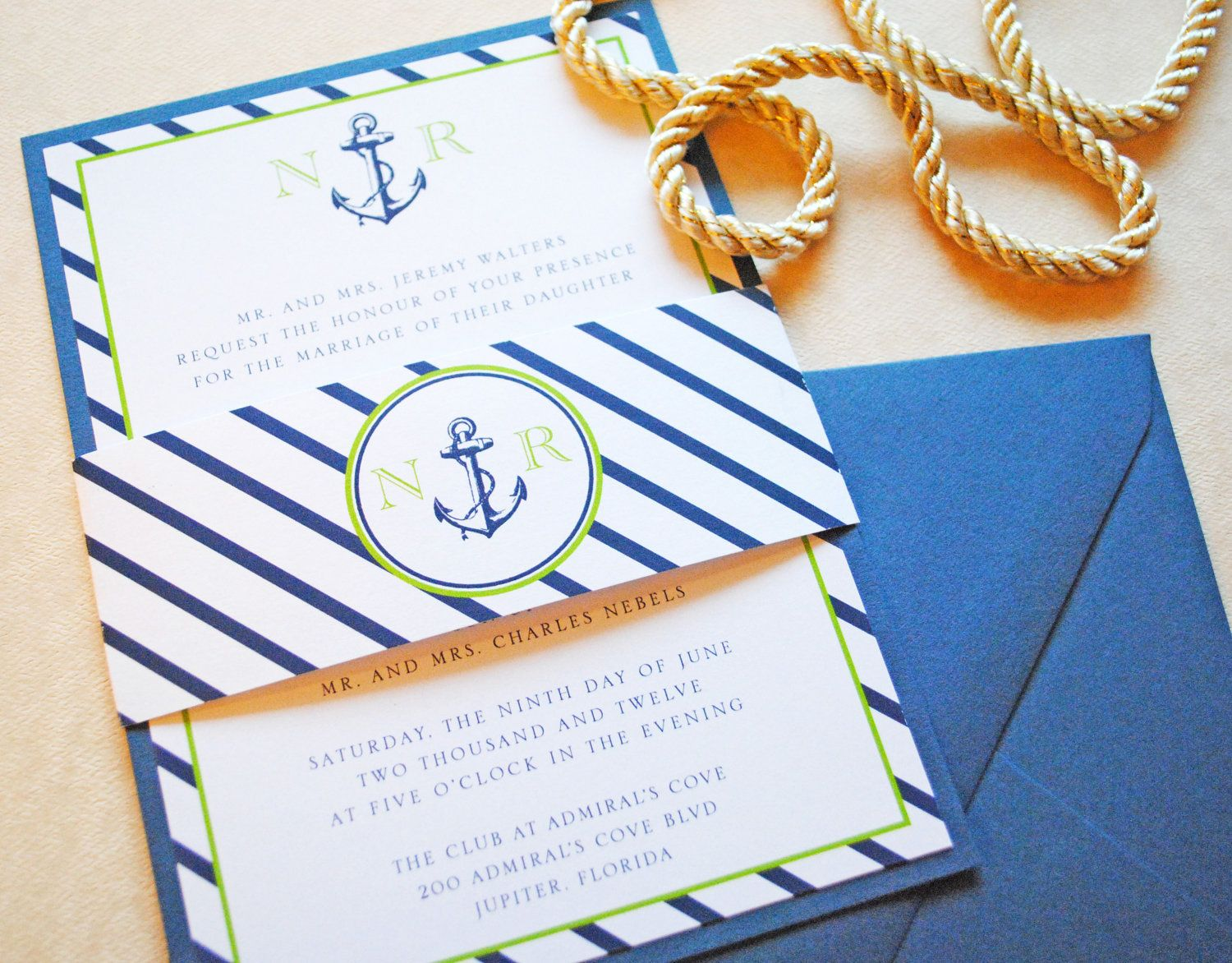 Nautical Anchor Wedding Invitation,  Nautical wedding invitations