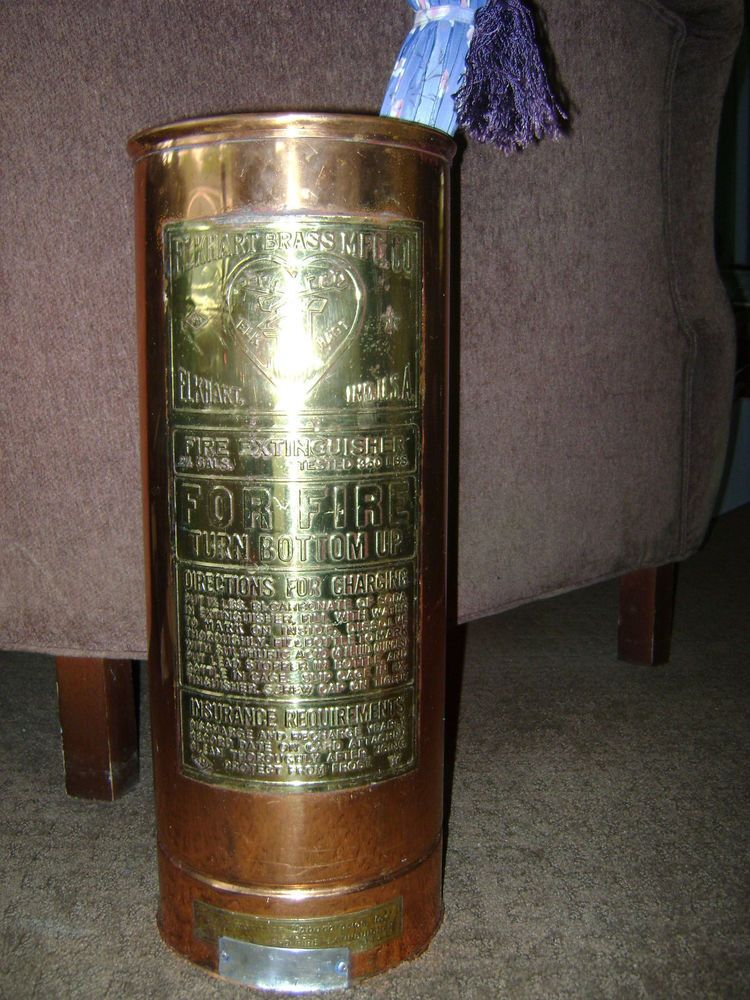 Elkhart Antique Fire Extinguisher Umbrella Stand Copper and
