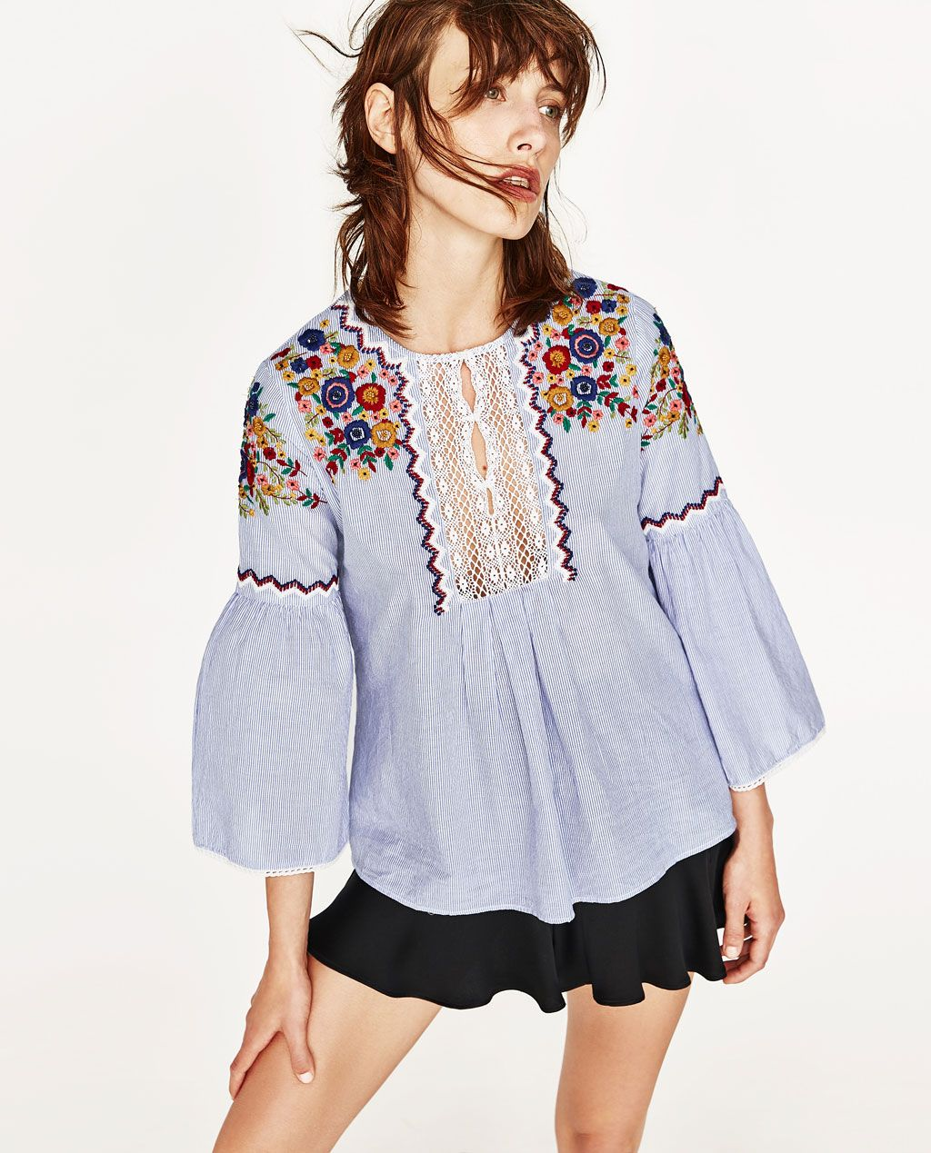 c461137f36bd EMBROIDERED FLOUNCE SHIRT-TOPS-TRF | ZARA United States Woman Shirt, Retro  Floral