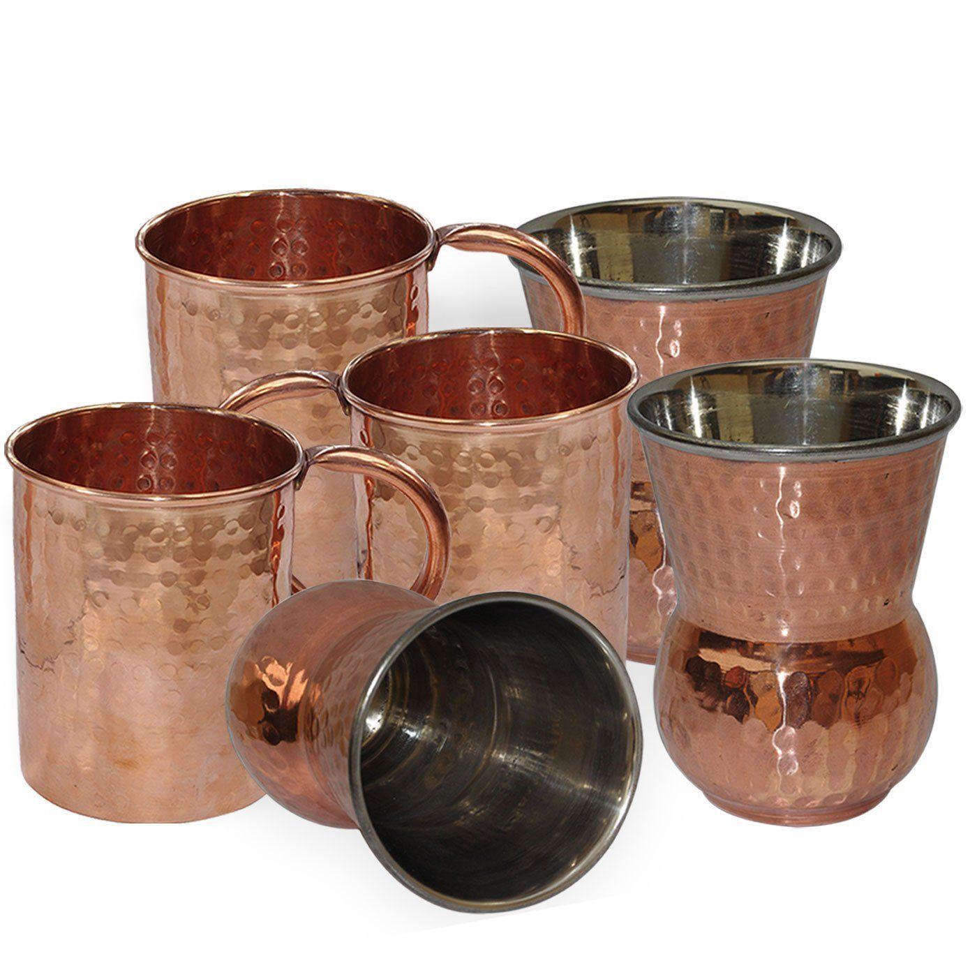 Buy DakshCraft ® Copper Handmade Tumbler & Hammered Lacquered Finish ...