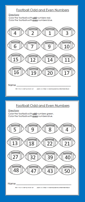 Free Football Odd And Even Coloring Worksheets Get Ready For Super Bowl Math Activities Elementary Elementary Math Math Notebooks