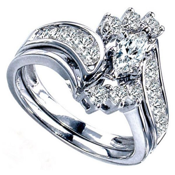 14k White Bridal Sets With 0 66 Carats Marquise Diamond Two Hearts Gold Byp
