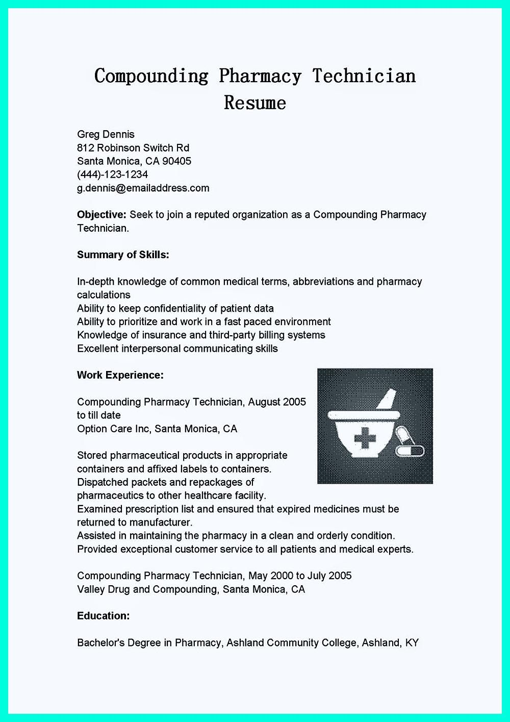 What Objectives To Mention In Certified Pharmacy Technician Resume Pharmacy Technician Job Resume Samples Patient Care Technician
