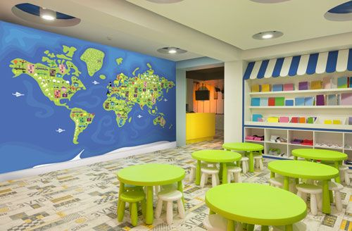 Cartoon world map wall mural, great for a kids bedroom or a playroom - best of world map for wall mural