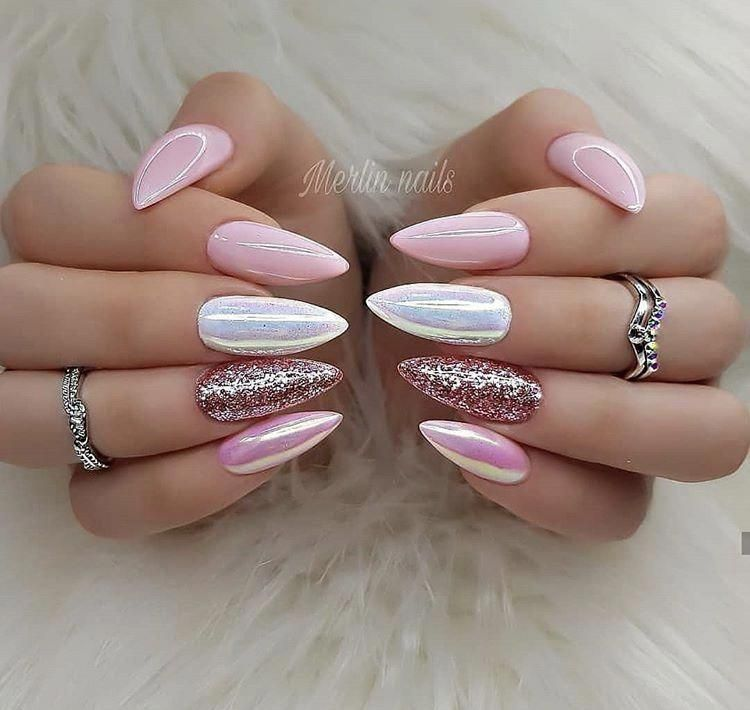 White Acrylic Nails With Silver Glitter Nail Care Kit Cvs Pink Nails Pretty Nails Gorgeous Nails