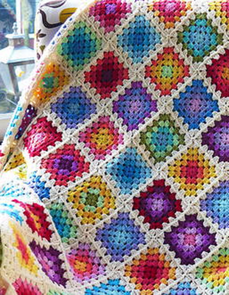 24 Rainbow Crochet Blanket Patterns | Pinterest | Colchas, Bordes de ...