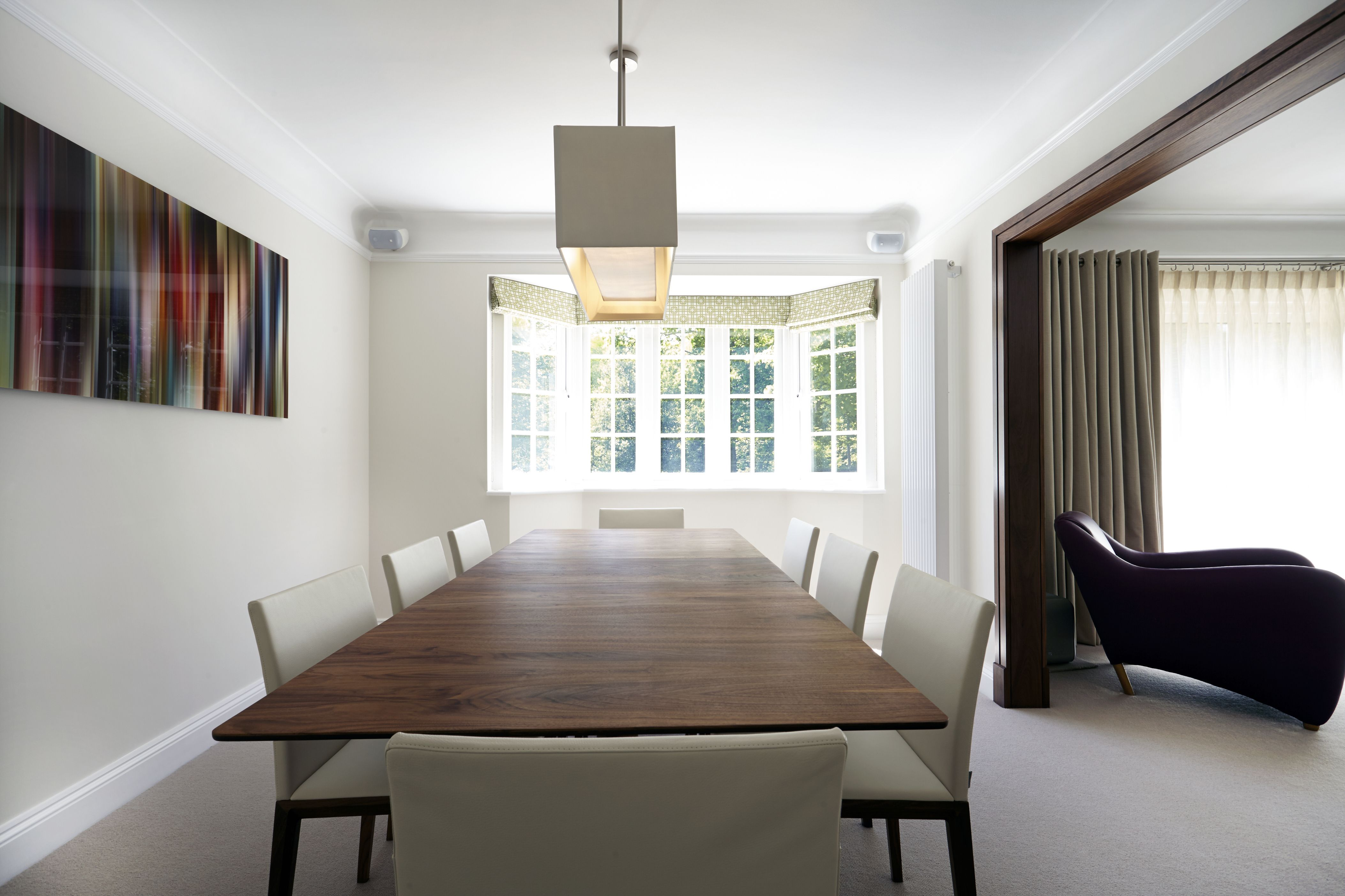 Contemporary dining room | Table by Matthew Hilton | Chairs by Walter Knoll | Interior design by www.newlandinteriors.co.uk