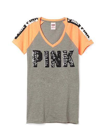 Bling Fitted V-Neck Tee - PINK - Victoria's Secret