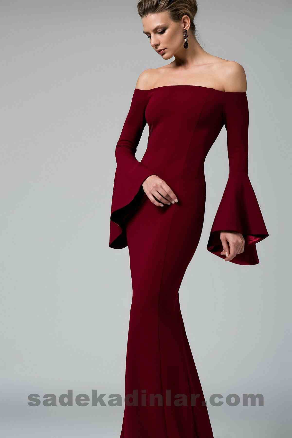 Abiye Elbise Modelleri Sik Ve Guzel 2019 Gece Elbiseleri Bordo Omzu Acik Uzun Balik Model Elbise Modelleri Elbise Moda Stilleri