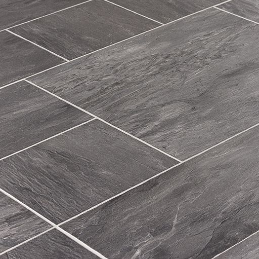 Tile laminate is perfect for kitchens or bathrooms faus for Grey bathroom laminate flooring