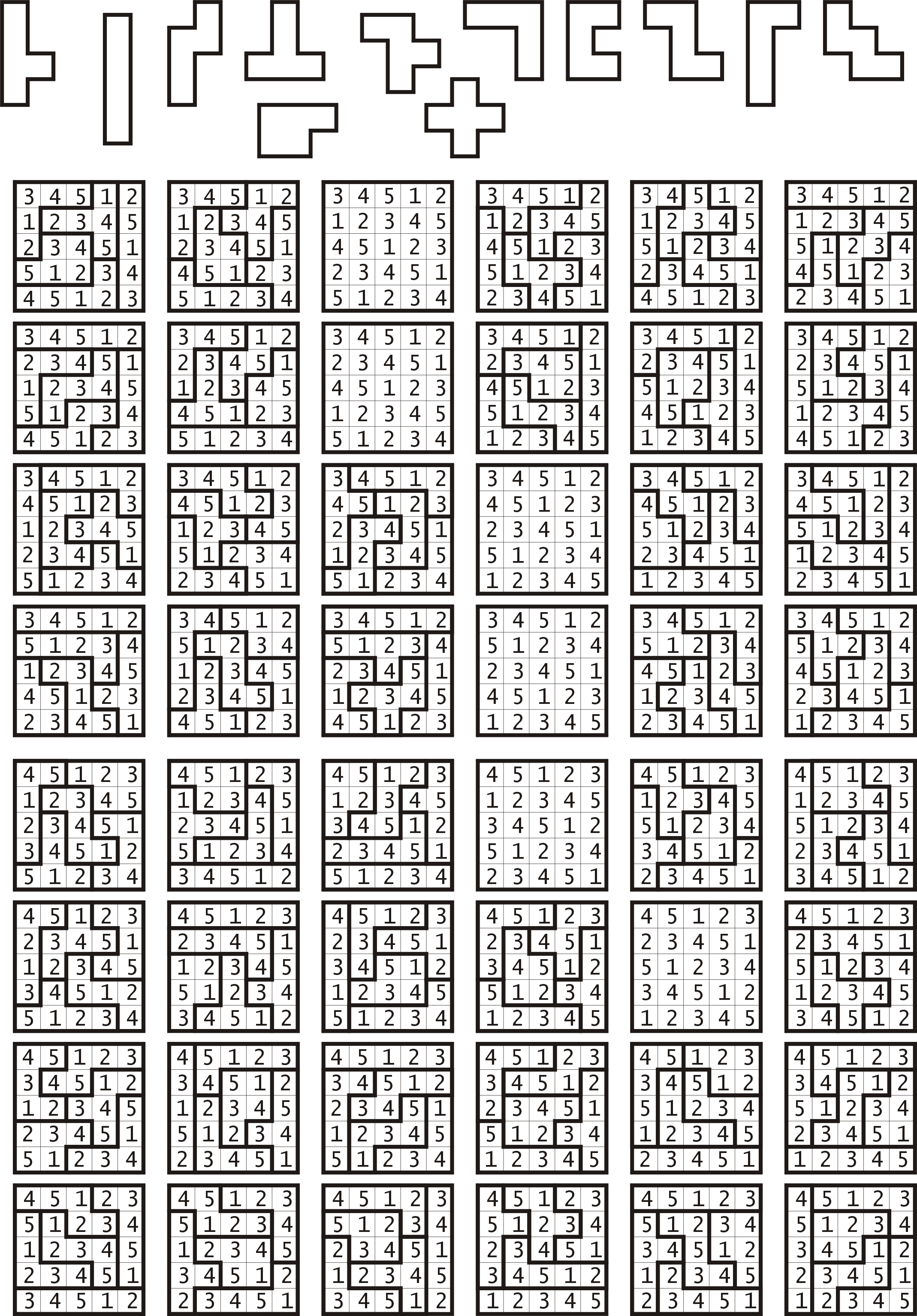 Possible 5x5 grids of numbers 1 to 5 mimicking SUDOKU puzzle layout ...