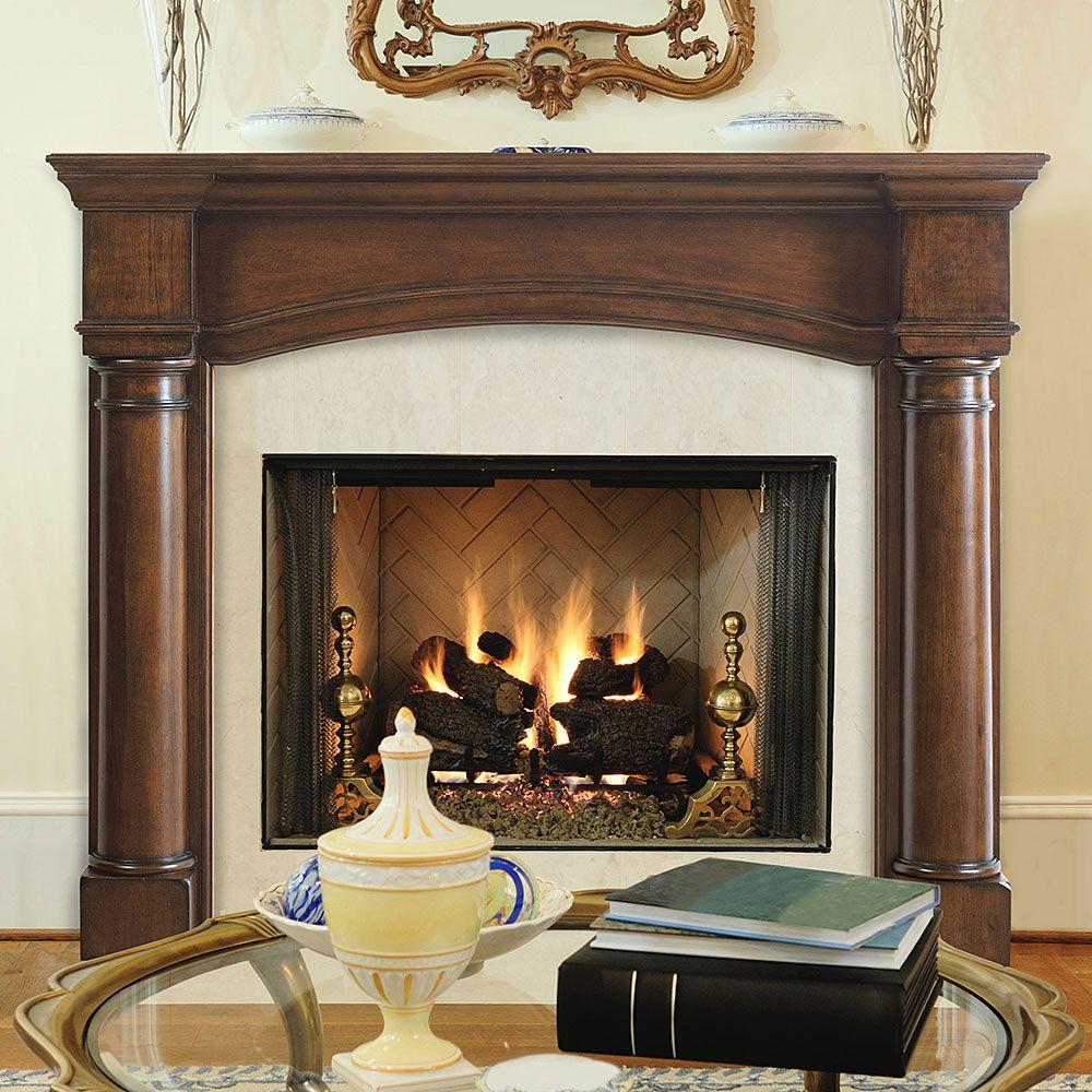 Edinburgh 48 In X 42 In Wood Fireplace Mantel Surround Fireplace