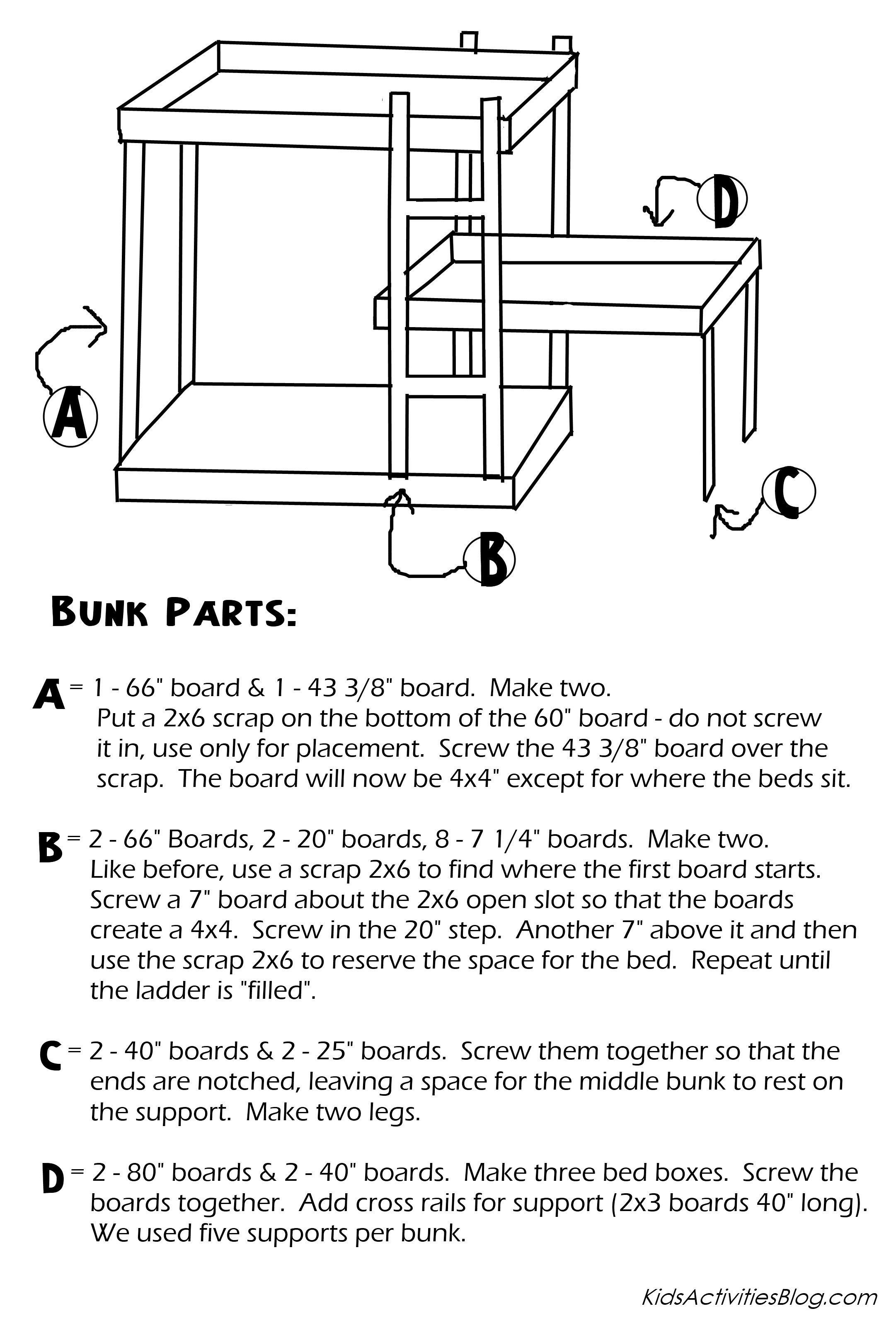 Build A Bed Free Plans For Triple Bunk Beds For Kids Triple