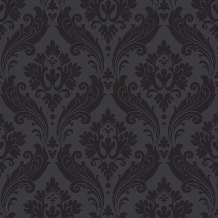 Vintage Flock Wallpaper By Kelly Hoppen Black Damask Wall Coverings By Graham Brown