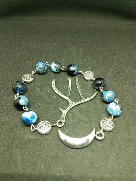 Wicca aqua dyed agate pagan prayer beads Cernunnos meditation beads witches ladder nine bead  Wicca Pagan Spiritual prayer worry beads