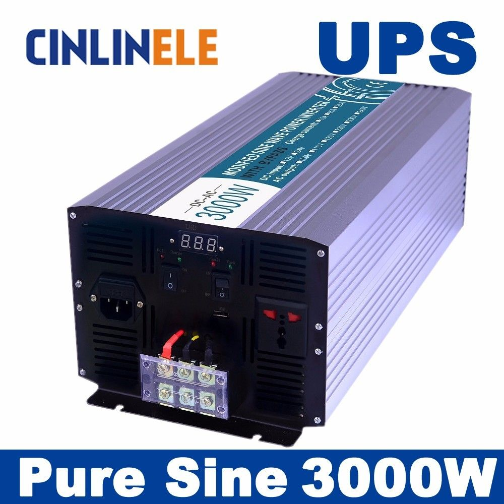 Universal Inverter Ups Charger 3000w Pure Sine Wave Inverter Clp3000a Dc 12v 24v 48v To Ac 110v 220v 3000w Pow Solar Power Inverter Solar Inverter Sine Wave