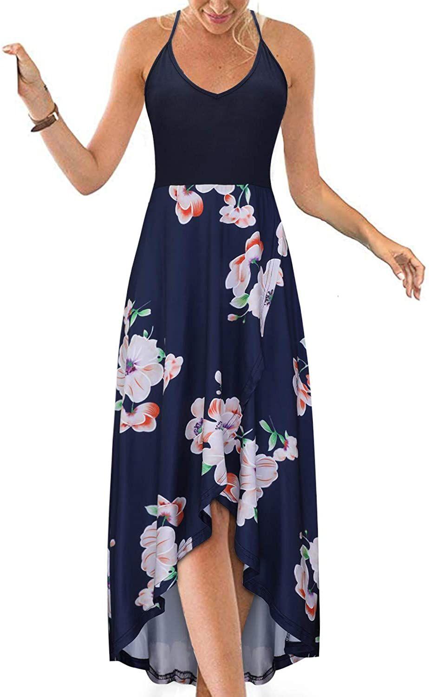 Women S V Neck Sleeveless Casual Summer Sundresses Asymmetrical Patchwork Floral Maxi Dresses Casual Dresses For Women Maxi Dress Floral Maxi Dress [ 1500 x 924 Pixel ]