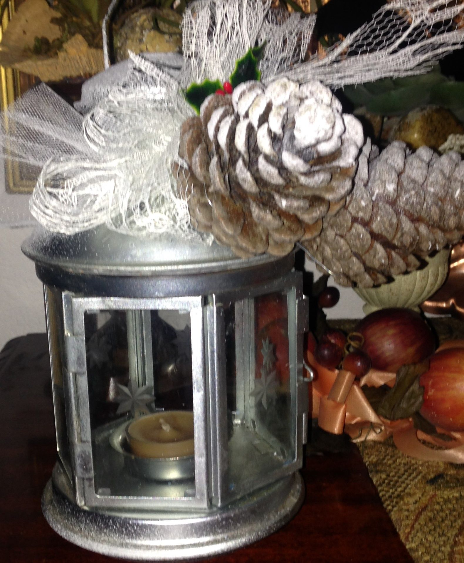 Pine Cone decor on glass Lantern lace bow snow accent ...