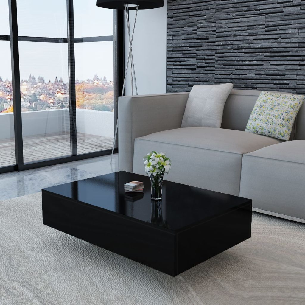 Details About Vidaxl Coffee Table High Gloss Black Living Room