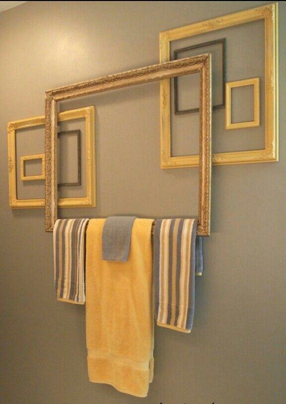 Frames as towel rack Genius Bathroom ideas Pinterest Towels