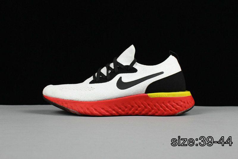 69cb49fa6e077 Youth Big Boys Nike Epic React Flyknit White Black Yellow Red