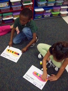 Read The Foot Book and then have each kid trace their foot.  Measure iwth unifix cubes and talk about bigger, smaller, the same.  Chalk Talk: A Kindergarten Blog: measurement