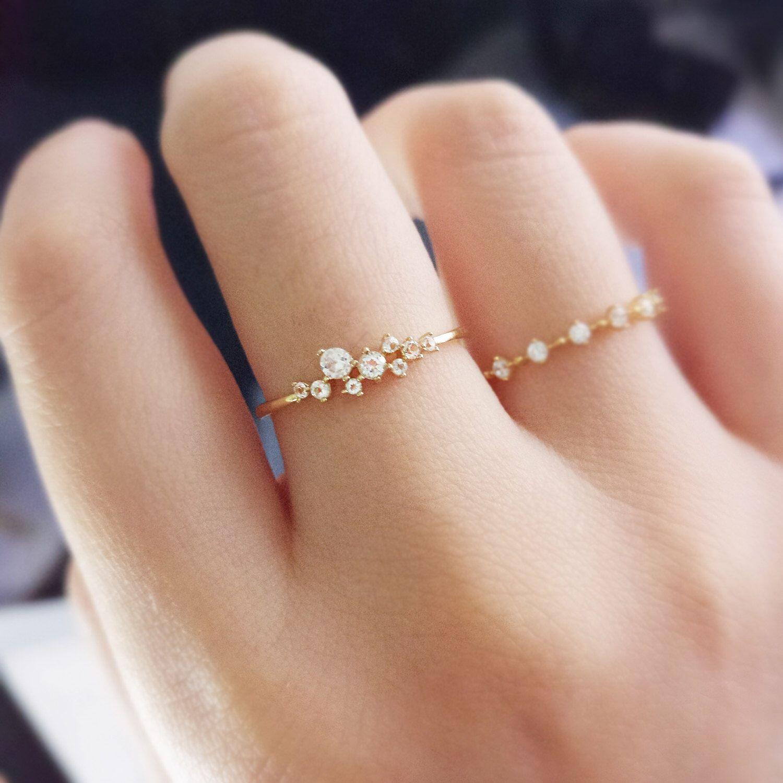 14K gold ring,Petite Topaz Engagement Ring, Princess Diamond ...