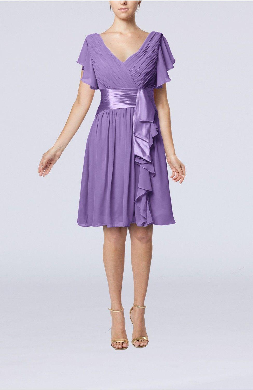 Grey wedding guest dress  Lilac Guest Dress  Romantic Short Sleeve Zip up Knee Length Short