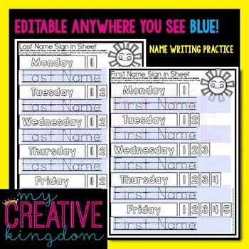 EDITABLE PDF Interactive First  Last Name Writing Practice - PK-1 - student sign in sheet