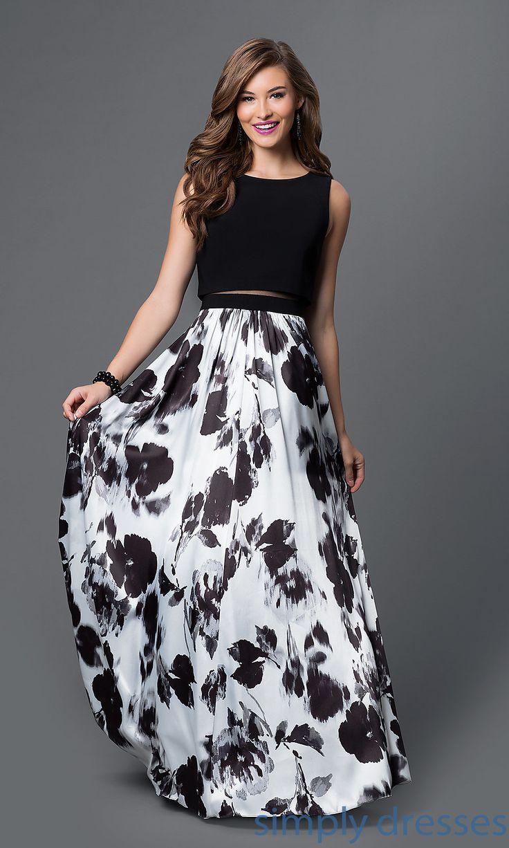 Image Result For Black White Navy Print Long Formal Dresses Floral Prom Dresses Piece Prom Dress Fashion Dresses [ 1226 x 736 Pixel ]