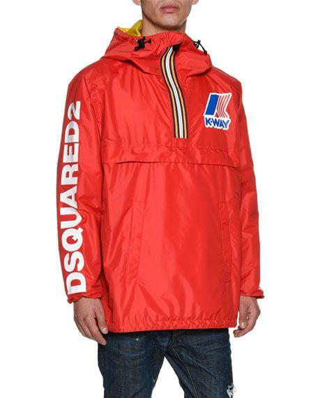 fc3ef48d57efc DSQUARED2 X K-Way® Short Reversible Nylon Packable Jacket, Black.  #dsquared2 #cloth #