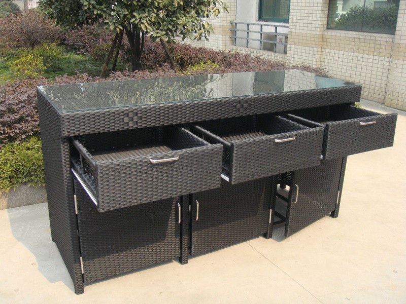 Aluminum frame and resin wicker bar set bar table for